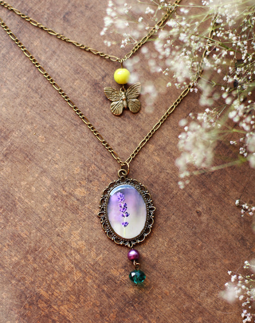necklace, jewelry, vintage, nature, lavender, butterfly