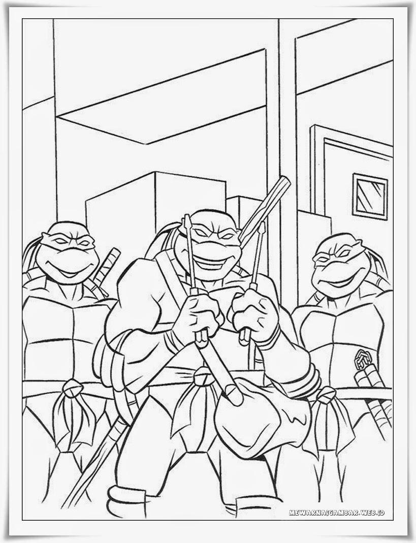 gambar mewarnai kura-kura ninja