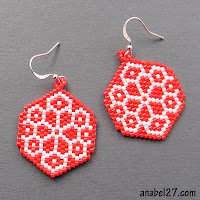 free bead patterns beadwork beading peyote earrings red and white flower