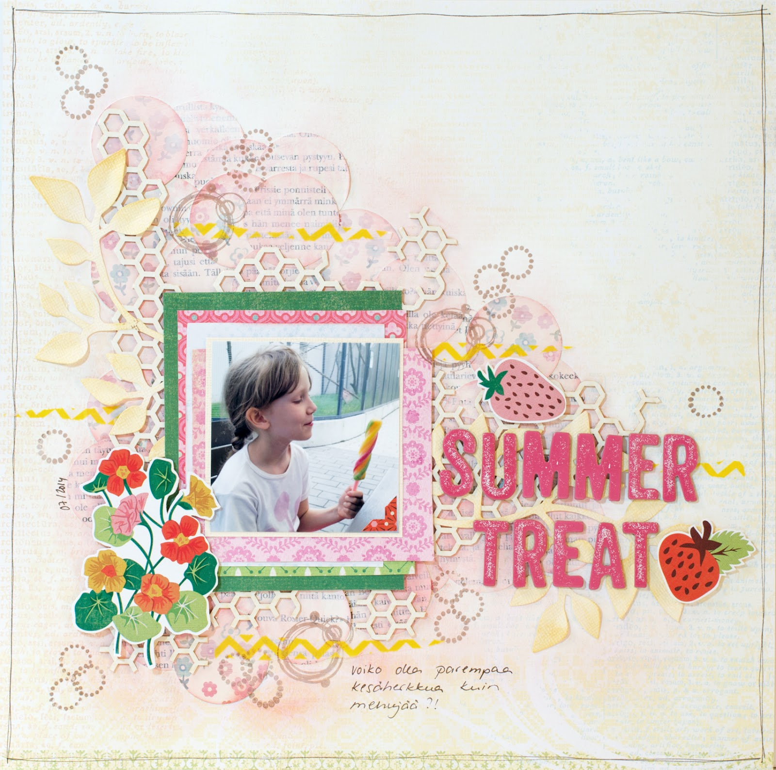 A summer themed scrapbooking layout