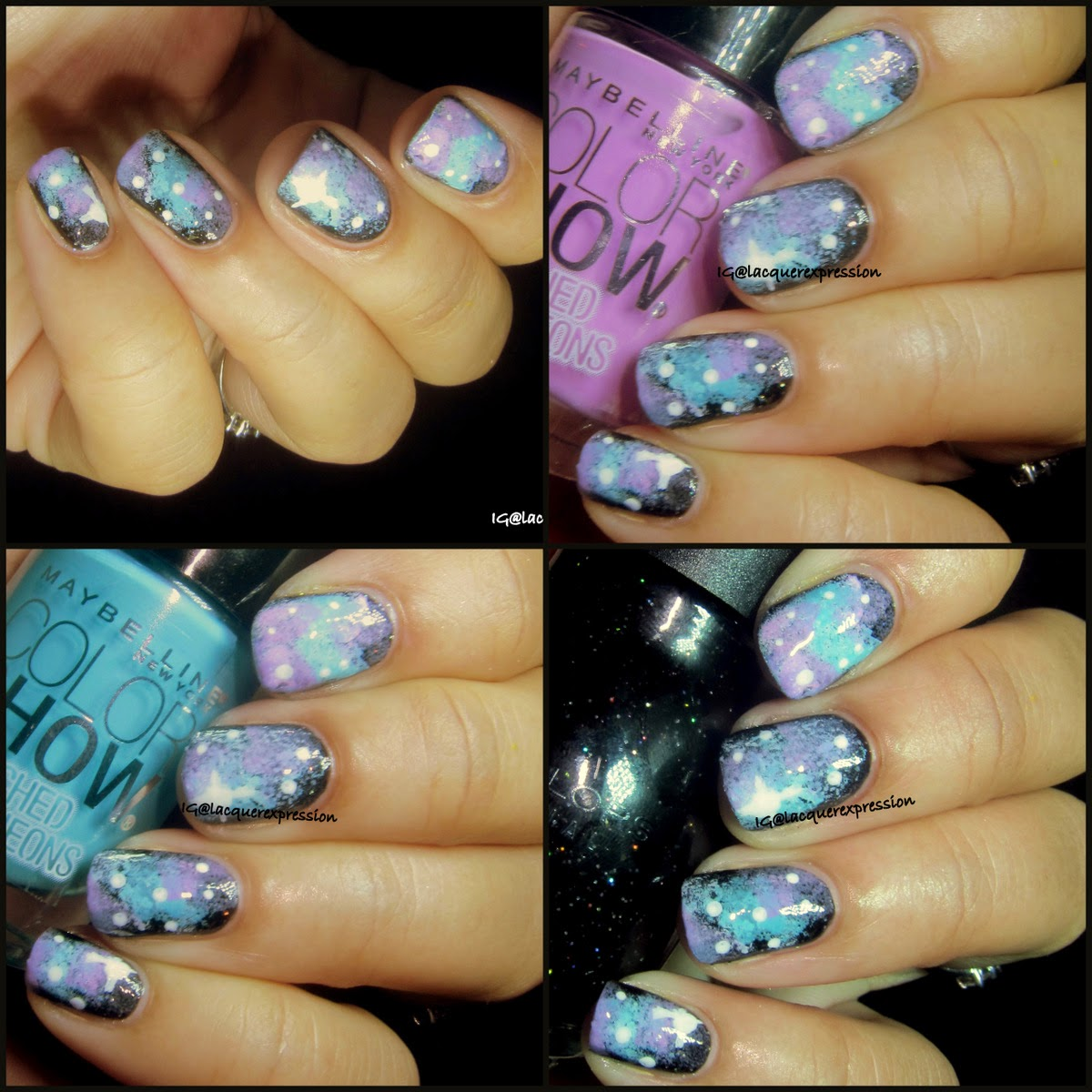 Galaxy nail art using starry night polish by sinful colors and day glow teal and ultra violet polish by maybelline