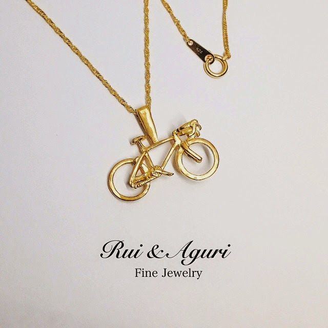 Rui and aguri fine jewelry news blog 24k gold bicycle motif 24k gold bicycle motif necklace mozeypictures Gallery