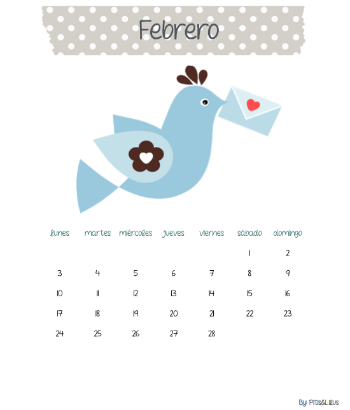 FREEBIE CALENDARIO IMPRIMIBLE MES DE FEBRERO