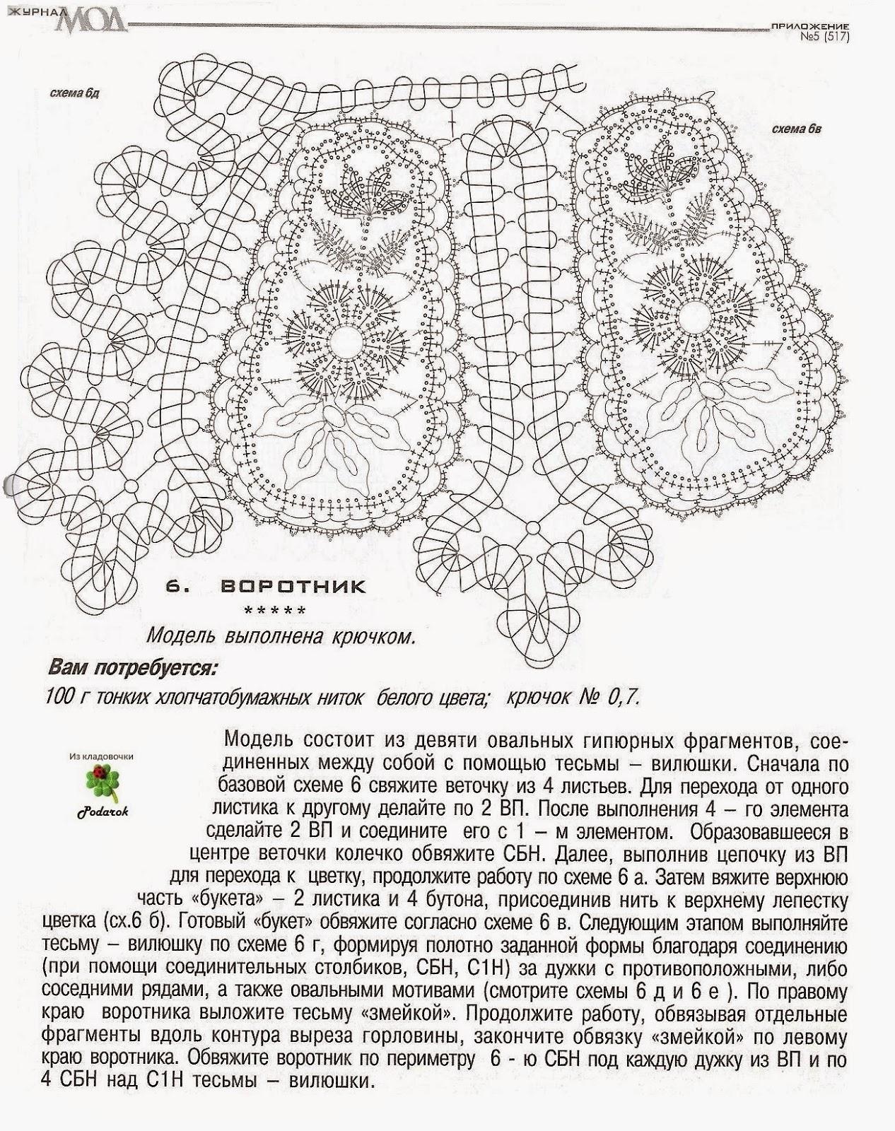 324Воротник крючком схема и описание на платье