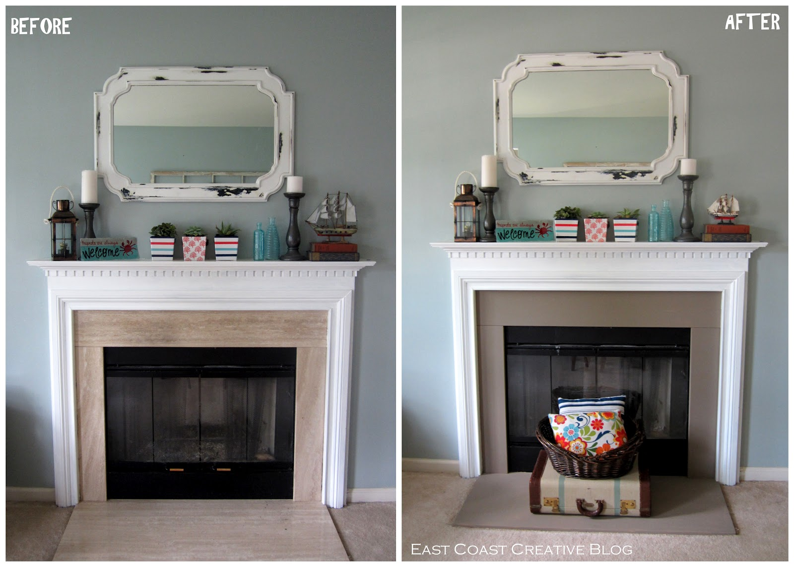 Simple Fireplace Upgrade {Annie Sloan Chalk Paint} - East Coast ...