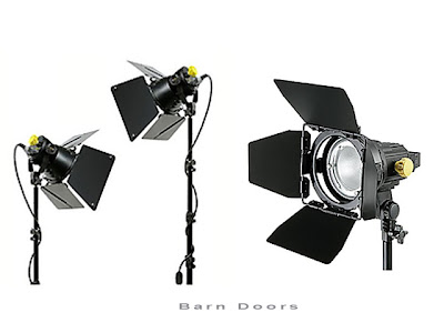 Barn Doors fitted on studio strobes