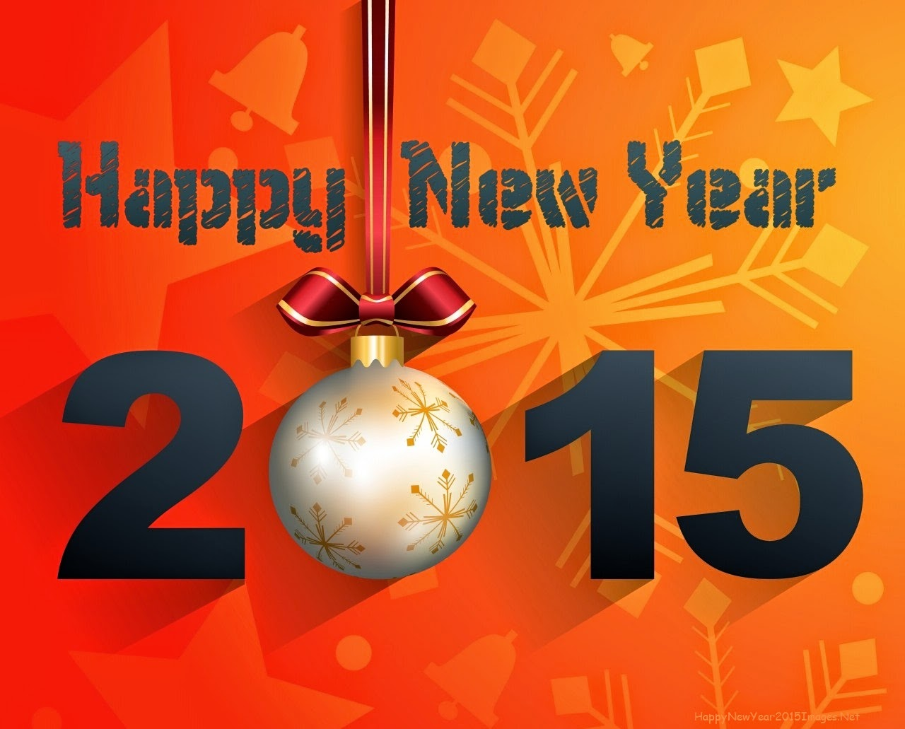Happy New Year 2015 With Decorations On Orange Background