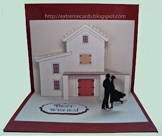 origamic architecture barn pop up card