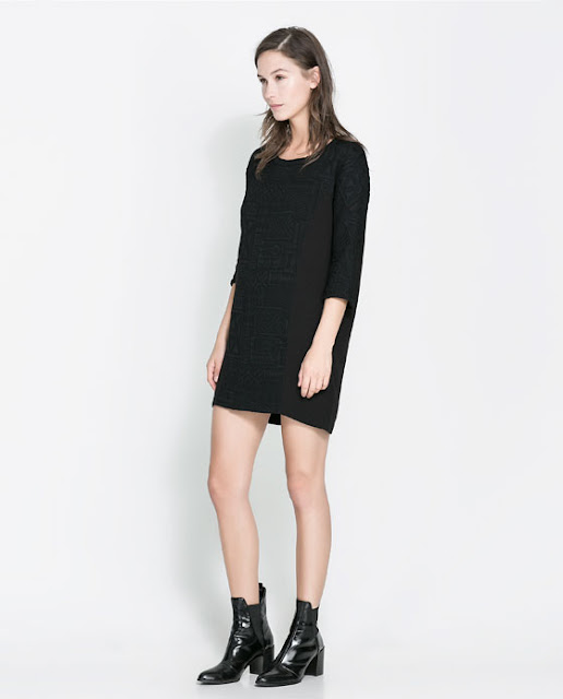 geometrik kesim siyah elbise kısa