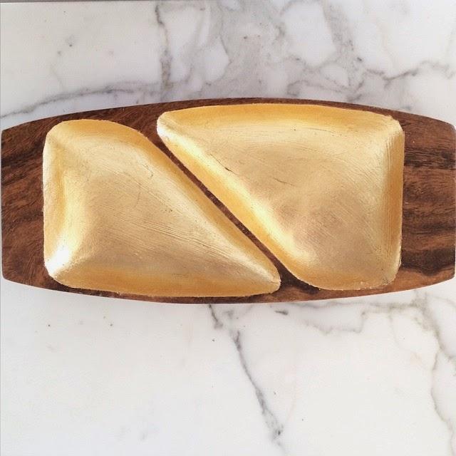 #thriftscorethursday Week 52 | Instagram user: lightglassandtrend shows off this Gold Leaf and Wood Dish