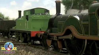 Quickly courageous Emerald Emily train charged towards great western railways Oliver the train