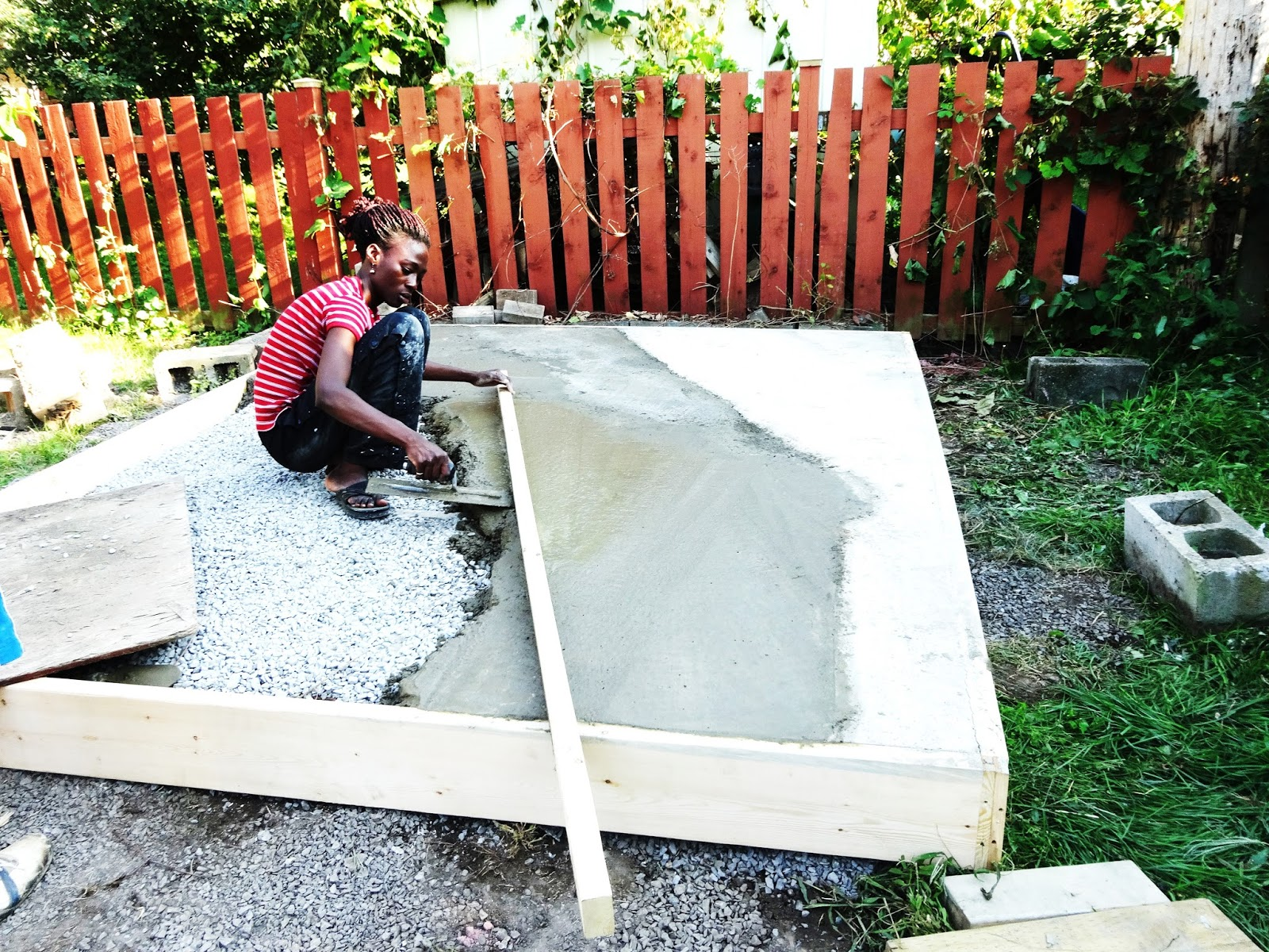 Outside at home how to pour a concrete shed foundation for What temperature to pour concrete outside