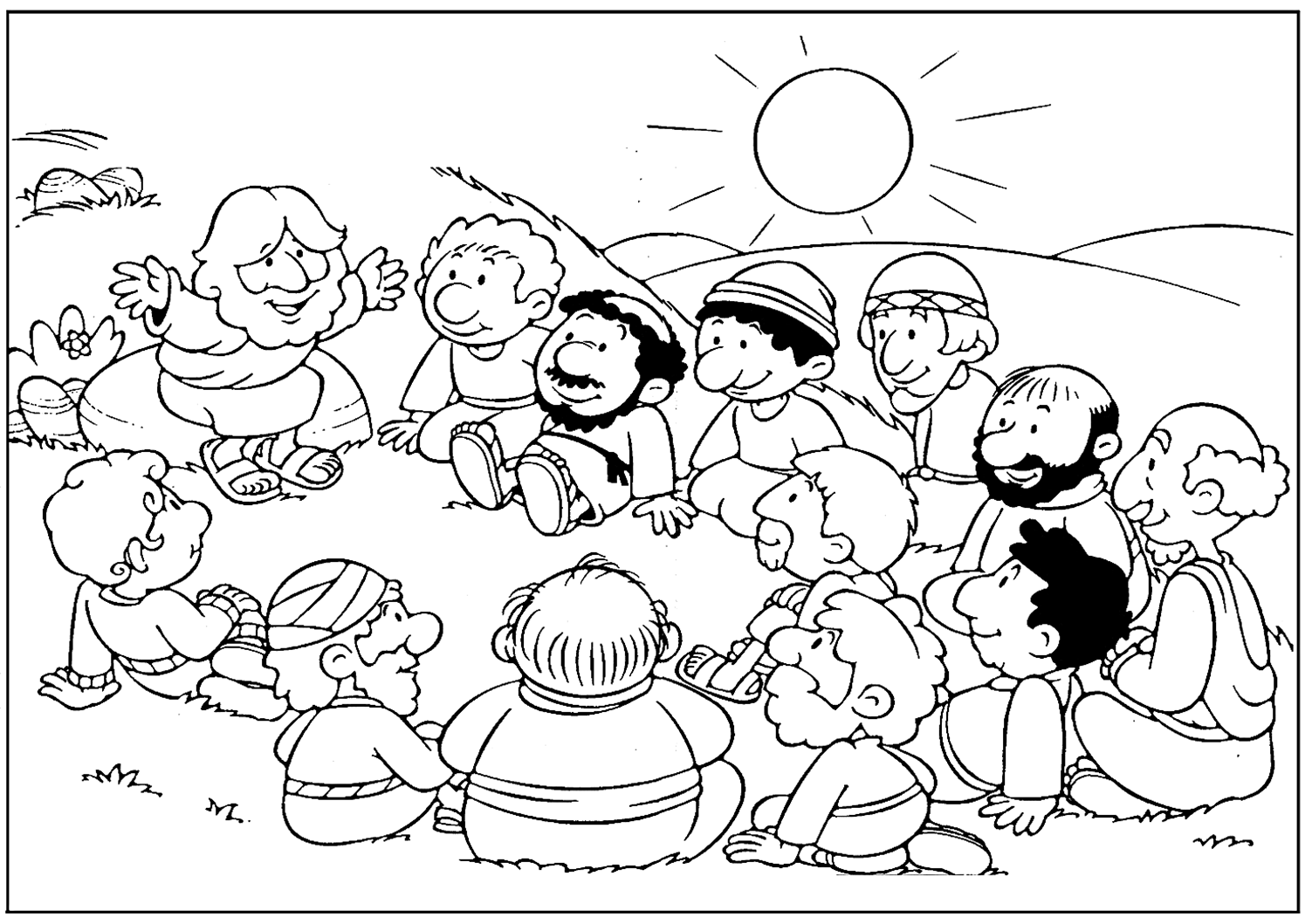 Jesus Teaching Disciples Coloring Page