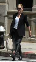 Mena Suvari wearing leather pants