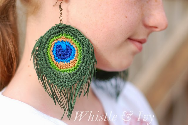 free crochet pattern peacock feather earings