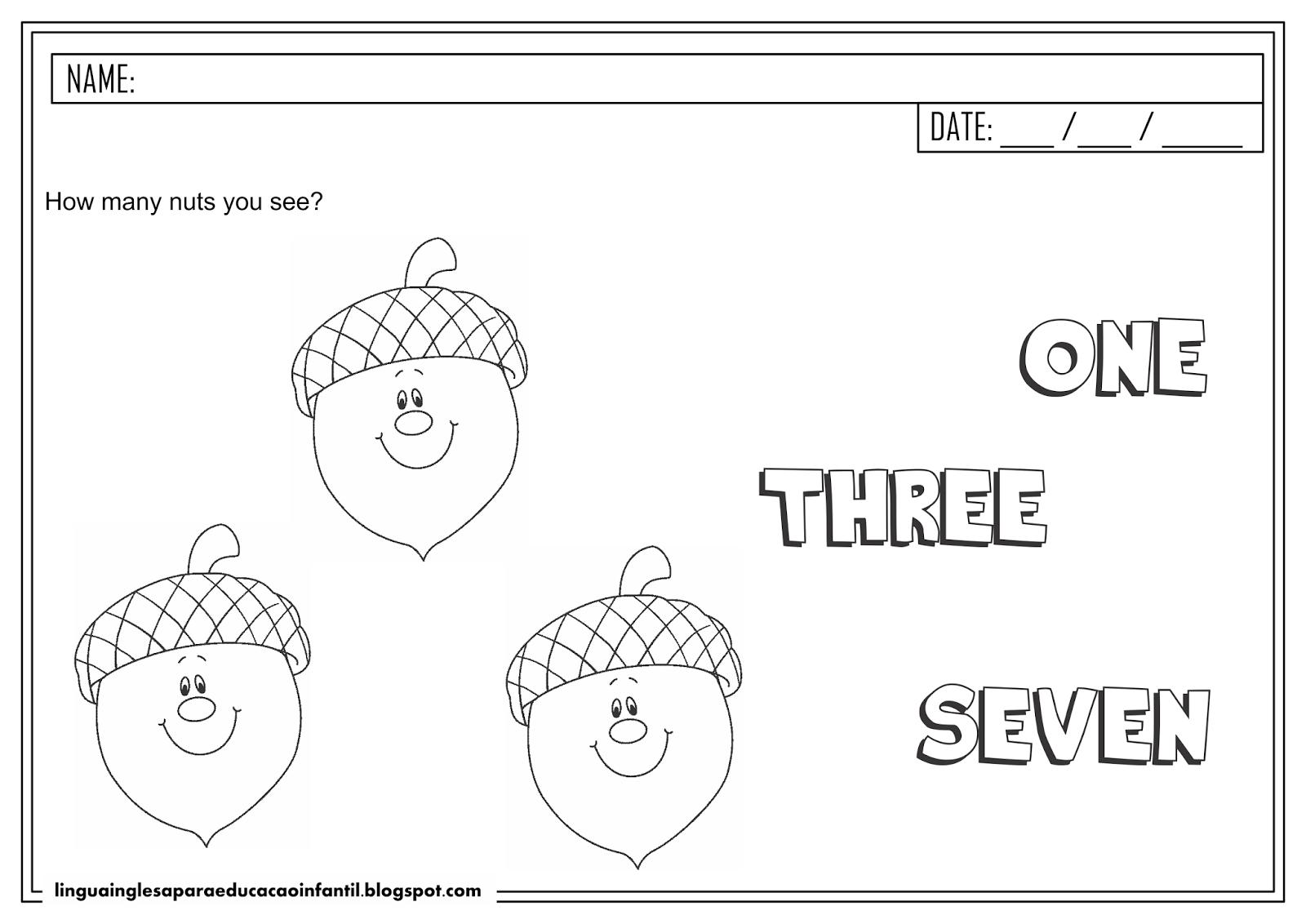Atividade de inglês - Número 3 para educação infantil