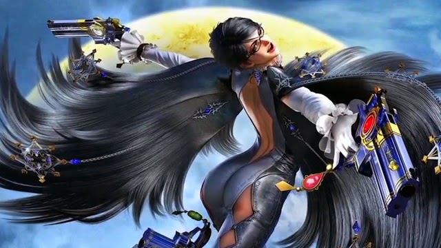 Promotional image for Bayonetta 2. The titular character is jumping in the air and pointing two large handguns to the left and right. The moon can be seen in the background.