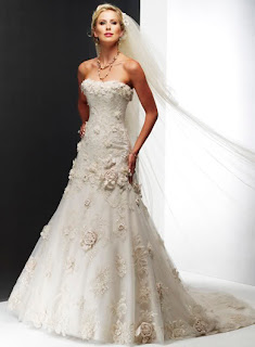 A textured a-line wedding dress with flowers.