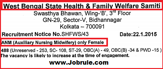West Bengal SHFWS 488 Trained ANM (Auxiliary Nursing Midwifery) Recruitment February 2015