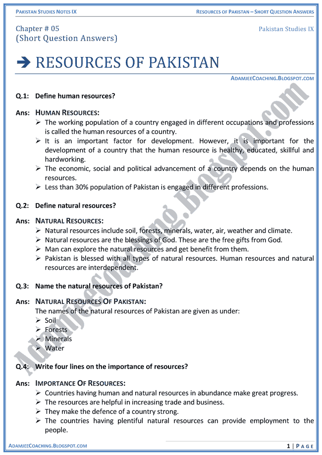 resources-of-pakistan-short-question-answers-pakistan-studies-ix