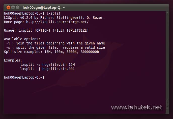 lxsplit: Pecah dan gabung file di Ubuntu