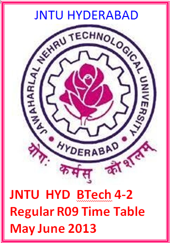 Jntu Hyd Btech 4-2  Regular R09 Time Table May June 2013