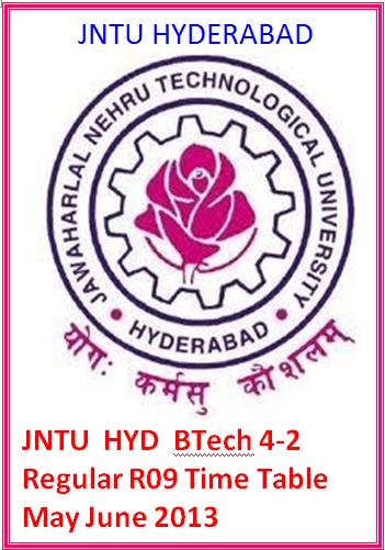 Jntu Hyd Btech 4-2  Regular R09 Time Table May June 2013