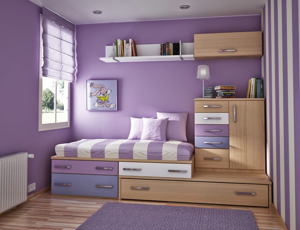 Desain Kamar Tidur Anak Perempuan Ungu