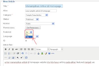 Menampilkan Artikel di Home /Halaman Utama Web dengan Joomla