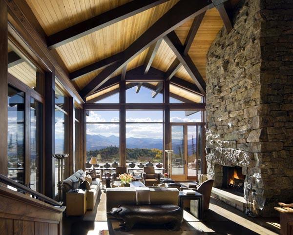 diseño rustico y brutalista en un retiro en las montañas-salon roca