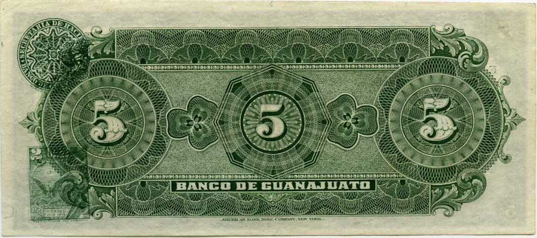 Mexican Banknotes 5 Pesos Banknote El Banco De Guanajuato