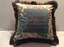 James 1:17 - floral linen (back is rose plaid) - 16""