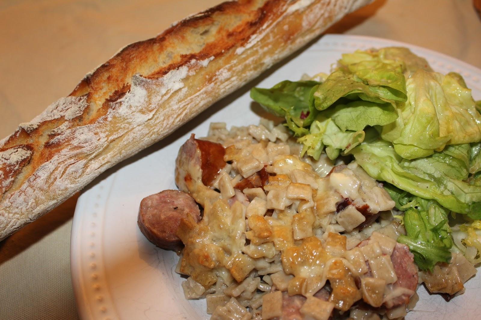 En cuisine by b n gratin de crozets saucisse fum e et - Cuisiner des saucisses ...
