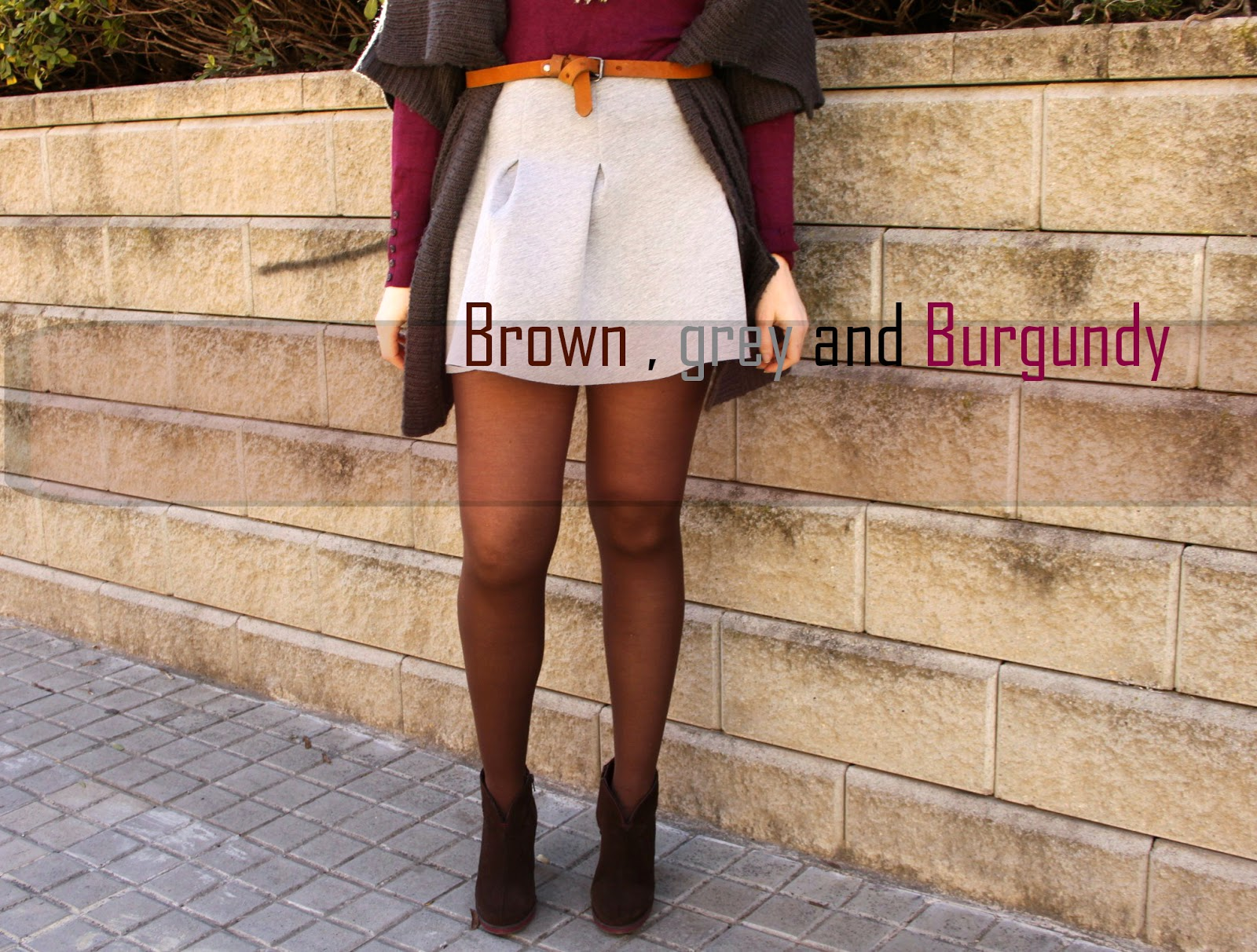 Brown, grey and Burgundy