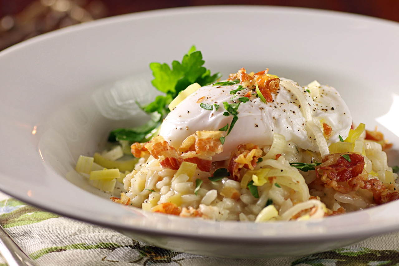 with poached egg sprinkle egg with salt and pepper sprinkle with ...