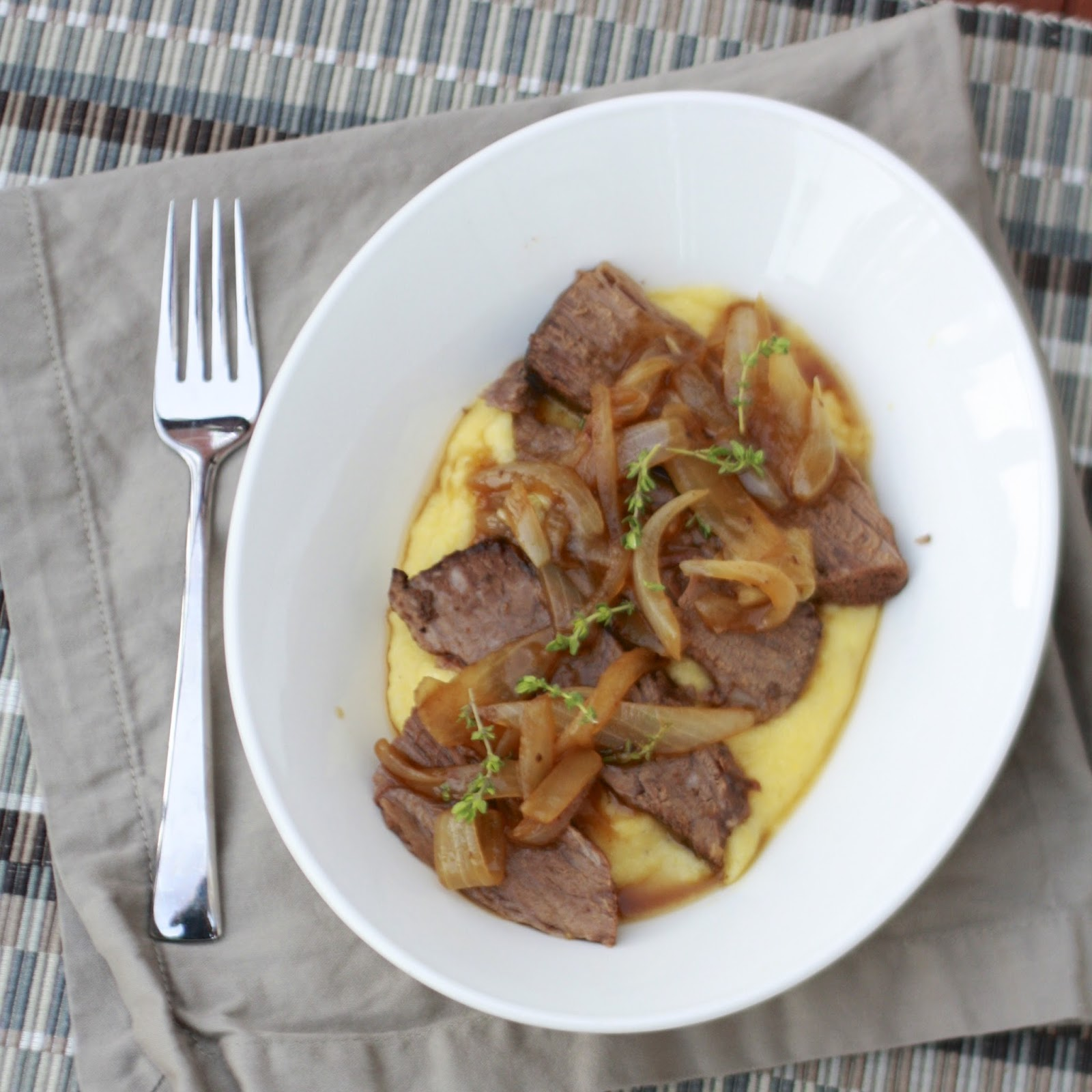Beer Braised Brisket over Polenta with Onion Jam | The Sweets Life
