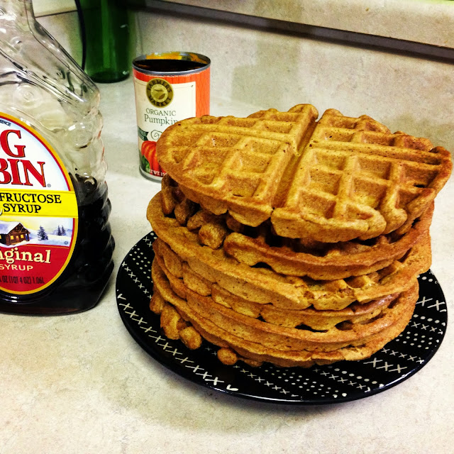 Pumpkin Spice Waffles made with organic pumpkin #dreamsmorerealthanreality