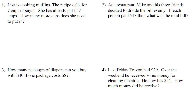worksheet 1 Step Word Problems mr howards esol math 6th 1 step word problems problems