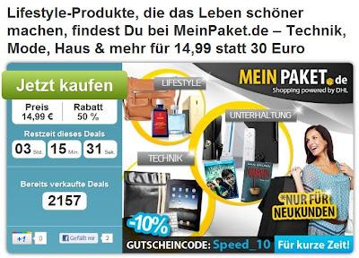 DailyDeal: 30-Euro-MeinPaket-Gutschein zum Preis von 13,49 Euro