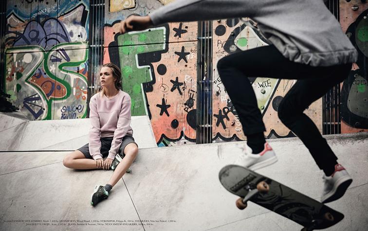 Josephine Skriver photographed by Sean McMenomy styled by Josephine Aarkrogh for Elle Denmark November 2014 sk8er grl