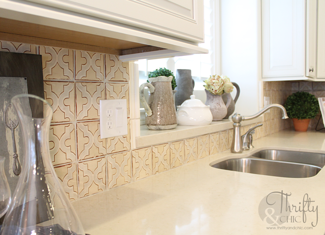vintage tile in cottage kitchen