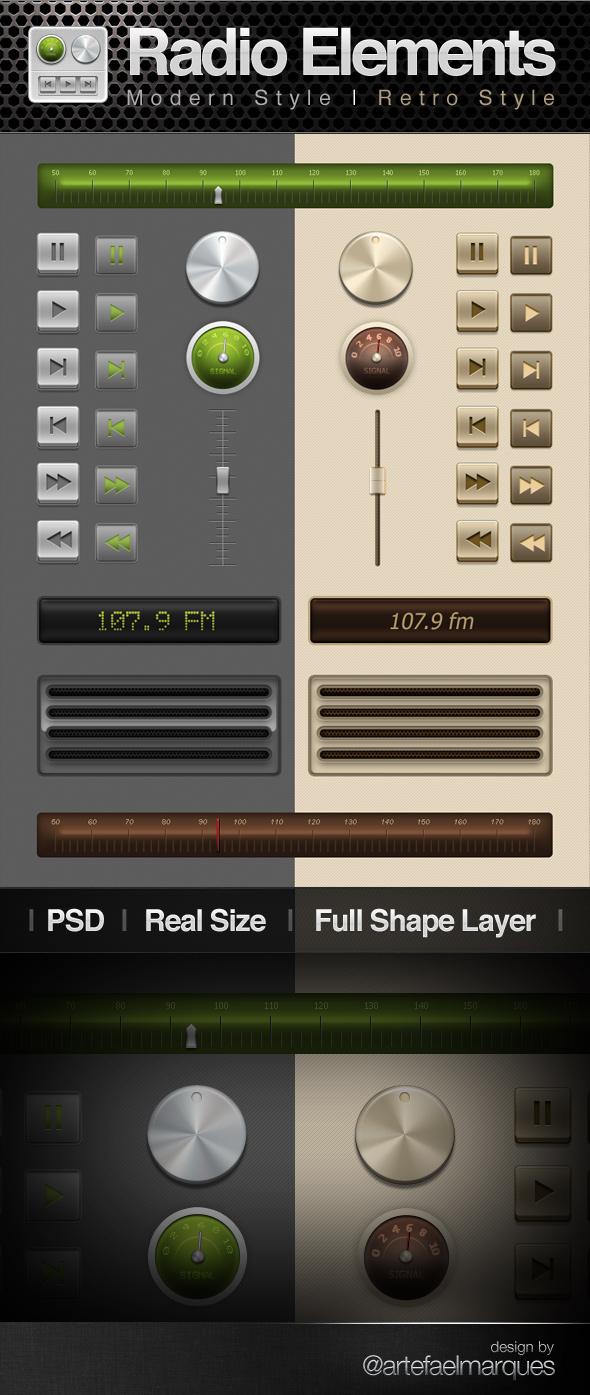 Retro and Modern Style Radio UI Elements