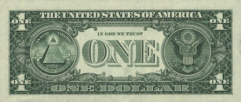Современная банкнота номиналом 1 доллар, оборотная сторона