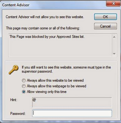 how to allow only one website in windows 7