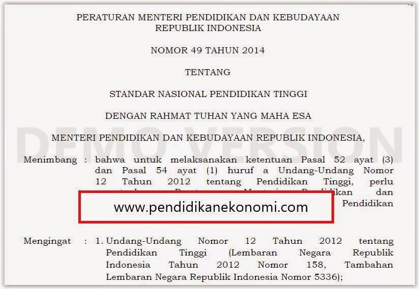 """Permendikbud Nomor 49 Tahun 2014 tentang """"Standar Nasional Pendidikan Tinggi"""""""