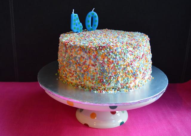 easy to decorate confetti birthday cake
