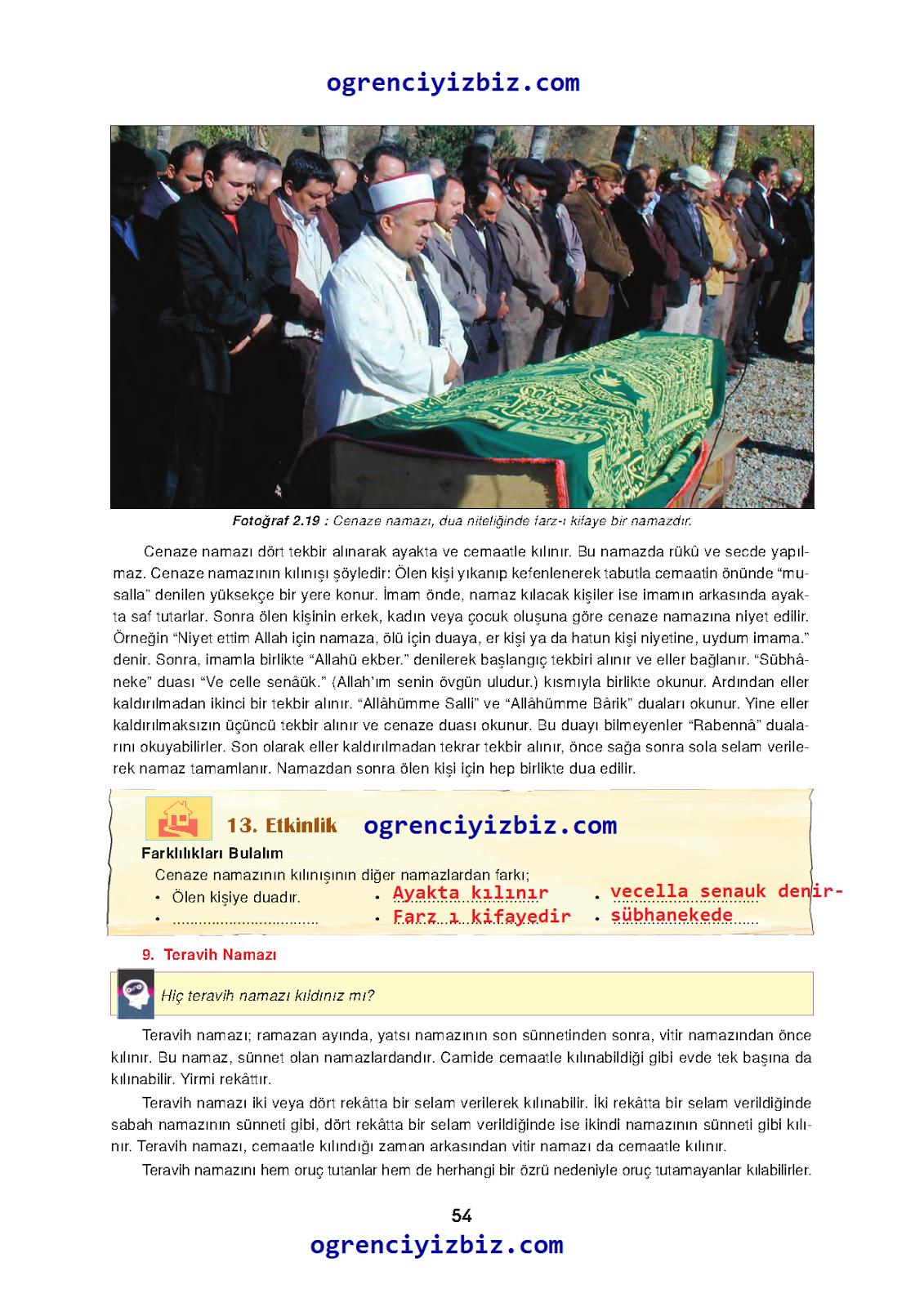 6.Sınıf Din Kültürü ve Ahlak Bilgisi  İlke Yayınları Ders Kitabı Sayfa 54  Cevapları