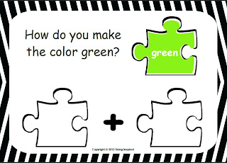 Colour Mixing worksheets - jigsaw puzzle piece