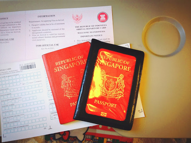 Singapore passports and Indonesia immigration cards
