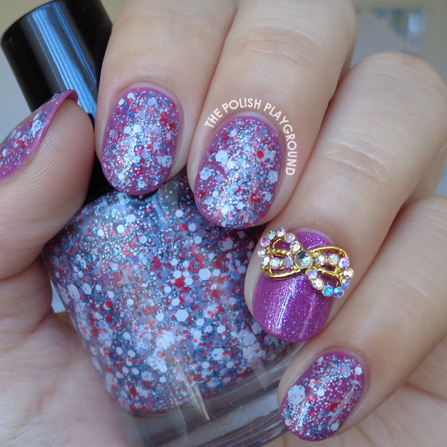 Purple and Glitter with Gold Bow Stud Nail Art